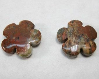 Red Jasper Flower Bead, Carved Stone Bead