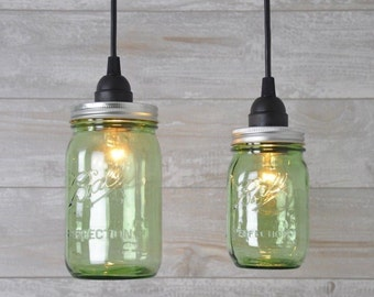 Mason Jar Industrial Pendant Light Green Vintage PERFECTION 100TH ANNIVERSARY