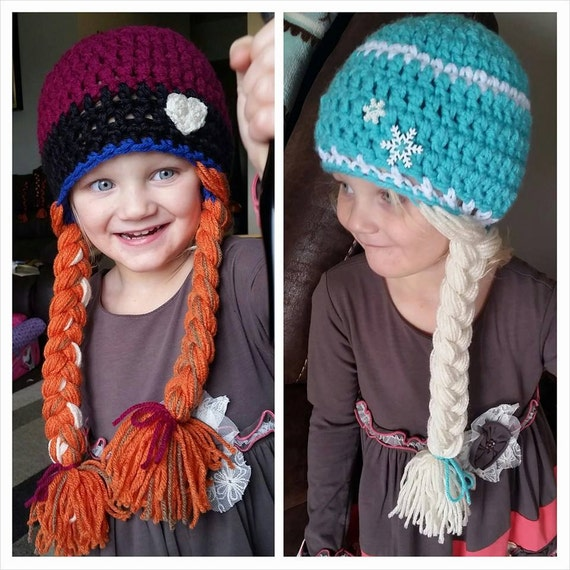 Crochet Elsa Hair Hat : Crochet Princess Anna or Queen Elsa Frozen Inspired Hat