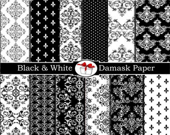 Damask digital paper Damask black and white fabric print Damask scrapbook paper Damask party decorations damask wall decal Damask wallpaper