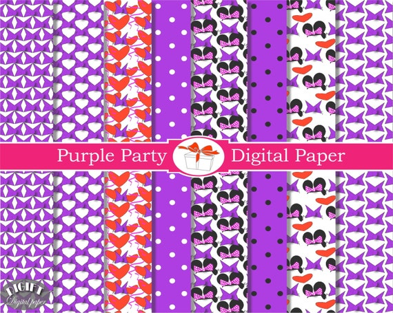 Purple Digital paper Daisy duck party decorations Scrapbook Birthday Party Background Invitation minnie mouse party