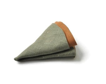 Olive Green Pocket Round. Brown Pocket Round. Linen Pocket Handkerchief Double Sided Hanky