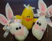 3 new handmade primitive Easter or spring bunny and baby chick bowl fillers, decorations