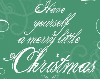 8x10 Merry little Christmas INSTANT DOWNLOAD, Printable decor, Green