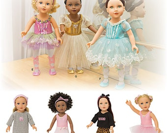 """Simplicity Pattern 1243 Ballerina and Dance Clothes for 18"""" Doll"""