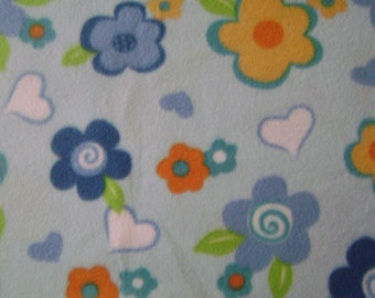 1.5 yards of Flowers & Hearts Fleece Fabric