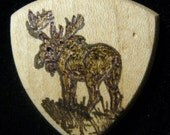 Wooden Guitar Pick with Maine Bull Moose pyro-engraved.