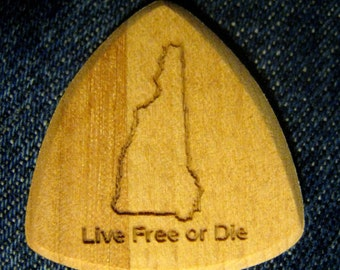 Wooden Guitar Pick New Hampshire - Live Free or Die