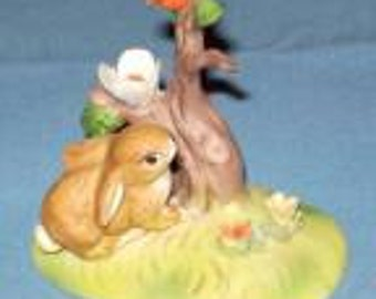 Vintage Lefton China Bunny, Bird and Flower Figurine # 02779