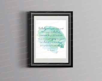 Vance Joy | Song Lyric Print | Music quote |  Vance Joy Riptide | Typography art print | Music Poster| Riptide Lyrics | Vance Joy Lyrics