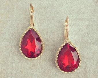 ON SALE Ruby red earrings, Gold framed earrings, dangles, Handmade gift idea, Christmas gift.