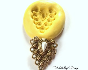 Fancy Filigree Pendant Silicone Mold,Jewelry Molds,Crafting Molds,Polymer Clay Molds, Resin Molds, Fondant Molds,Kawaii Mold