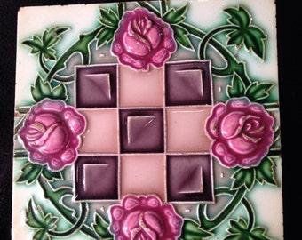 Vintage pink rose made in Japan 8 x 8 tile