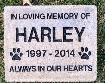 "7"" X 8""  Memorial Pet Grave Marker, Cambridge Pavingstone (Add your own personal engravings for free)"