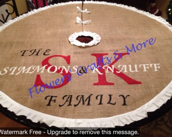 Personalized Burlap Christmas Tree Skirt with Ruffles