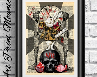 MOUNTED Gothic Alice in Wonderland Original Art print on antique dictionary book page. Dark White Rabbit skull Steampunk. Wall hanging print