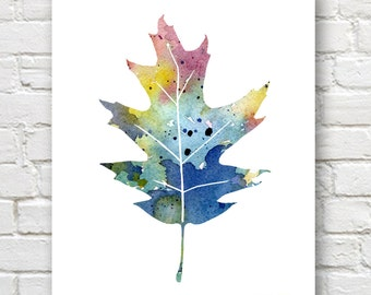 Oak Leaf - Art Print - Abstract Watercolor Painting - Wall Decor