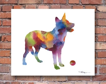 Australian Cattle Dog Art Print - Abstract Watercolor Painting - Wall Decor