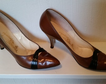 SALE 50% OFF  Vintage Womens Shoes--Warm, Brown, Soft Chocolate Brown Vintage Kittenette Heels