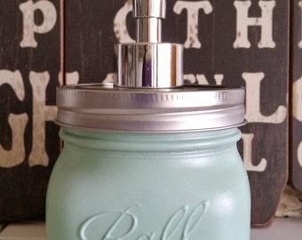 Solid Sea Foam Square Ball Mason Jar Soap Dispenser
