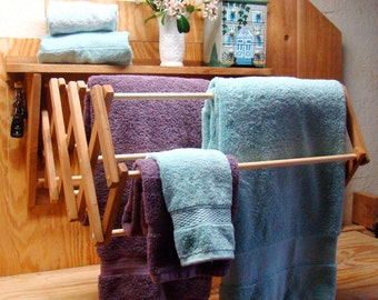 Wooden wall mounted drying rack - use as a clothes drying rack / laundry drying rack / towel rack or for herbs - folding / collapsible