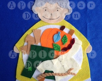 Felt Board Story Set: There's an old lady who swallowed some leaves!