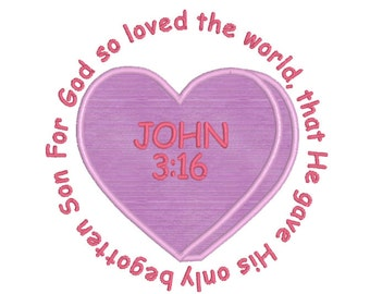 BUY 2, GET 1 FREE - Christian Valentine's Day Applique Conversation Candy Heart Machine Embroidery Design John 3:16