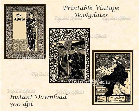 vintage printable bookplates ex