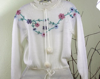 Vintage Librarian Sweater Embroidered Peplum Sweater Pullover