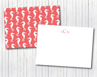 Seahorse Stationary - Preppy Nautical Beachy Seahorse Coral Monogrammed Stationary Cards