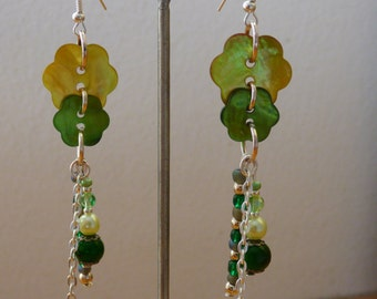 earrings ears green nature - Made in FRANCE