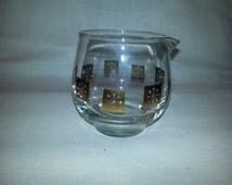 Vintage 1950s Atomic Inland Glass Gold Snowflake Glass Creamer