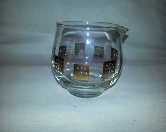 Vintage 1950s Atomic Inland Glass Gold Snowflake Glass Creamer