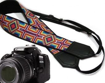 InTePro Ethnic Camera strap. Colorful DSLR / SLR durable, light weight and well padded camera strap. Camera accessories.