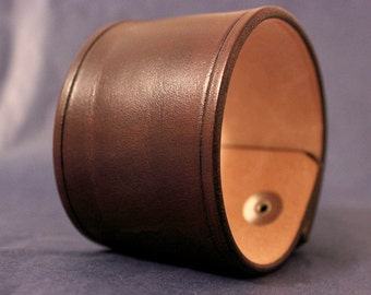 Leather Cuff Wristband Brown 2 Inch wide