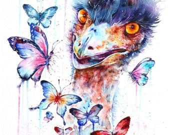 Small Mounted Print: emu with butterflies