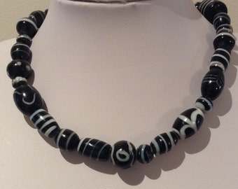 Necklace.38cm Features High Quality Lampwork Glass beads Black and white lined. Multi mix