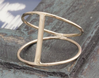 14 k gold filled open bar modern style band ring