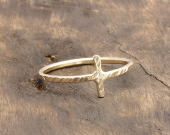 1.3 mm 14 k gold filled cross textured rings , band rings