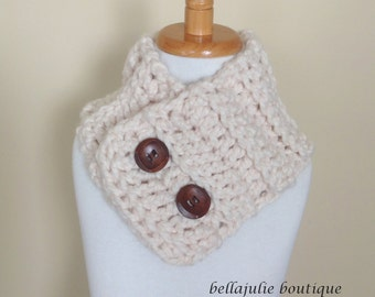 Children Crochet Neckwarmer, Chunky Wool Cowl, Cream Crochet Cowl, Fisherman Cowl, Easter