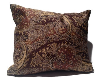 Brown Decorative Throw Pillow, Paisley, Combed Cotton, Home Decor