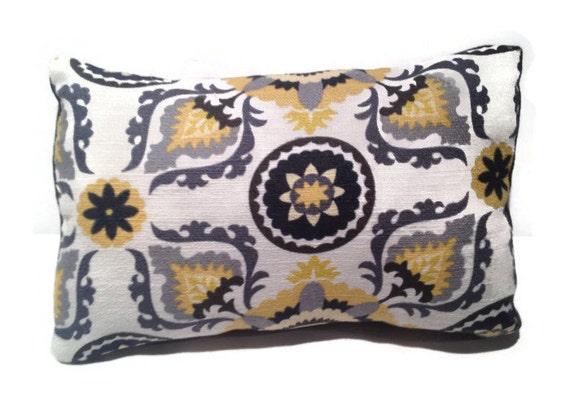 Grey yellow black throw pillow
