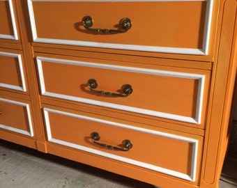 Mid Century Orange and White Dresser,Credenza,Buffet,Nursery Table