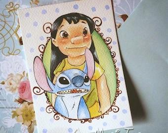 Lilo and Stitch - Handpainted Postcard.