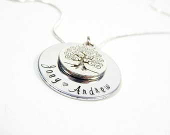 Hand Stamped Family Tree Neclace. Personalized family gift for mom!