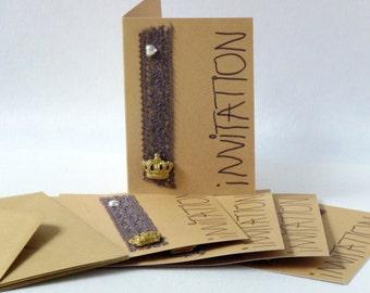 Sale Einladungskarten Kraftpapier Krone Handgefertigt Kindergeburtstag  Geburtstag Grußkarte Freunde Prinzessin Prinz Perle Natur Geschenk
