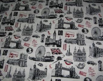 Black white All London City  Window Curtain Valance
