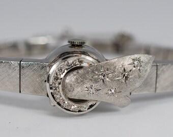 "Vintage 1950's Diamond Ladies Watch 14k White Gold Florentine Mechanical 6 3/4'"""