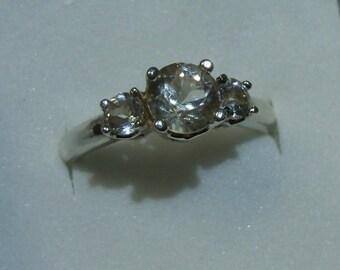 Sun Stone/White Topaz Sterling Silver Ring - 7+ size - wonderful fire   (RF07)