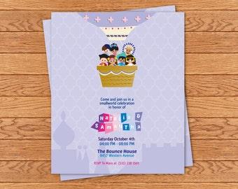 PRINTABLE Small World digital file invitation (lavender)